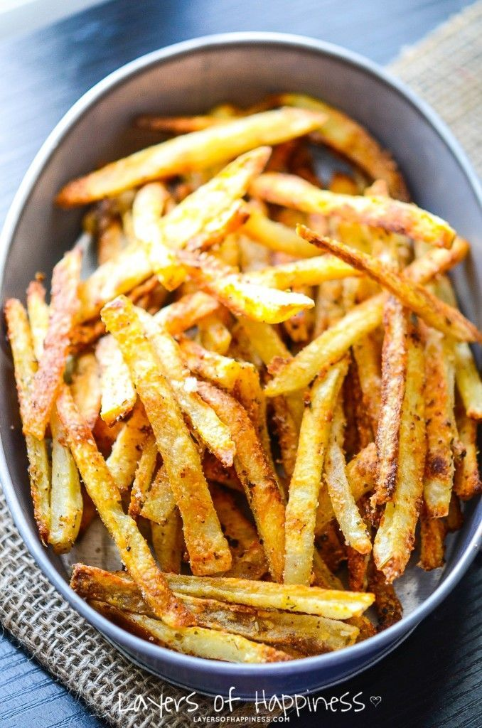 Extra Crispy Parmesan Fries (soak in water to get rid of excess starch, use a bit of olive oil, and bake twice)