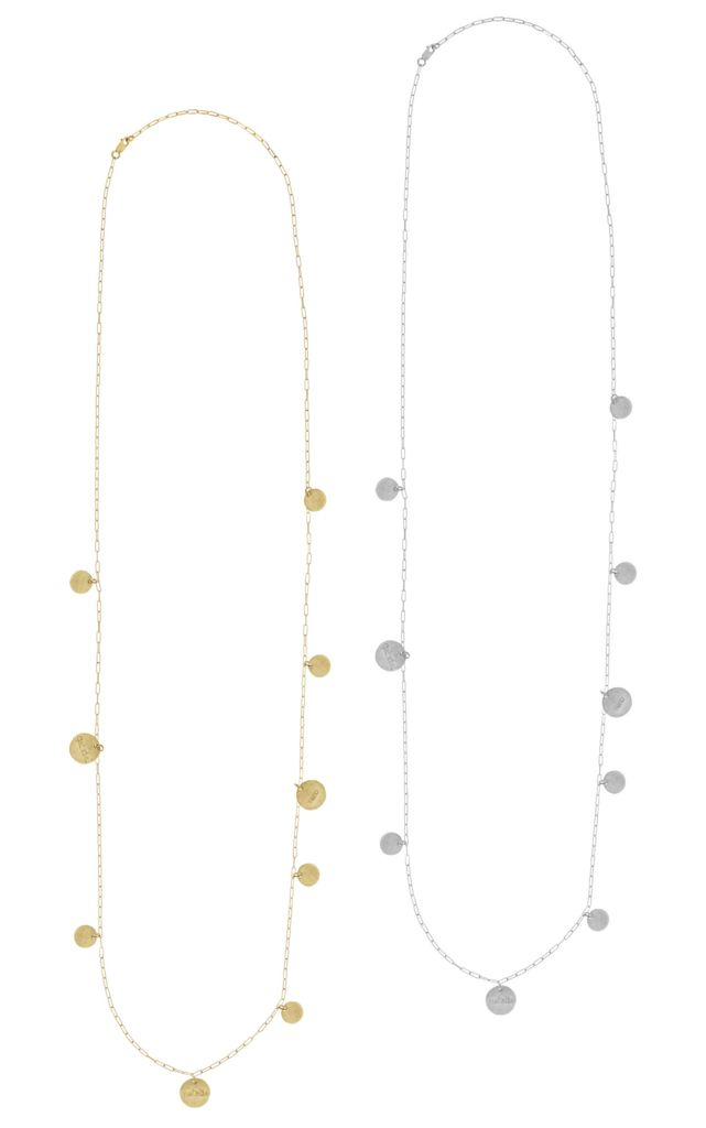 The Cara - Long Hammered Disc Necklace - Gold, Silver, Rose Gold