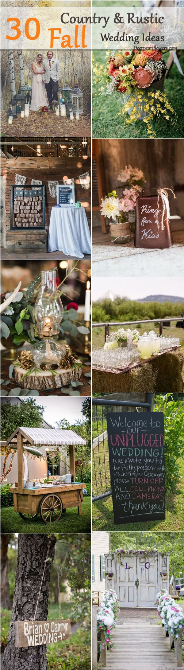 Rustic country outdoor fall wedding ideas / http://www.deerpearlflowers.com/country-rustic-fall-wedding-theme-ideas/2/