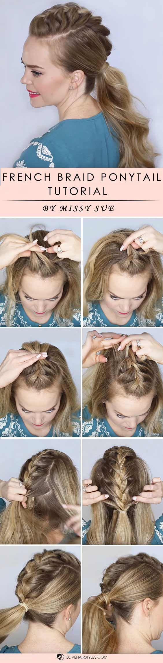 How to braid hair? We all ask this question from time to time, especially when we tried it all already and simple curling and straightening is no fun any longer. We have step by step tutorials that will teach you how to braid your tresses for a super adorable look. Check out our post! French Braided Ponytail #braidedhair #howtobraidhair #braidstutorial