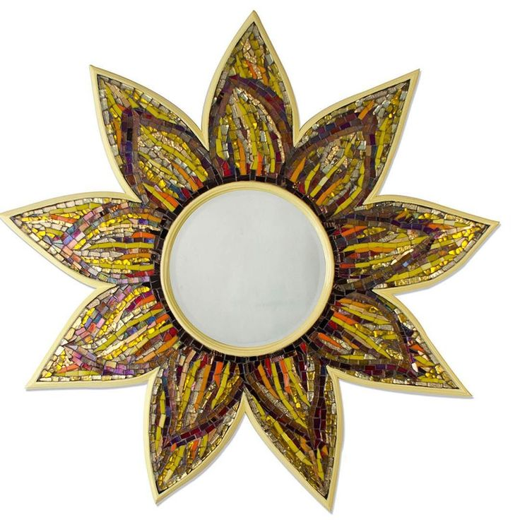 """Spread sunshine with this elegant resplendent mirror by Vandeep Kalra Mosaics. Source this #mirror on a full trade discount without paying any commissions using """"request information"""" button. #luxurymirriors #mosaic #mirrordeco #decor #decorativemirror #design #art #pattern #bespoke #designermirrors"""