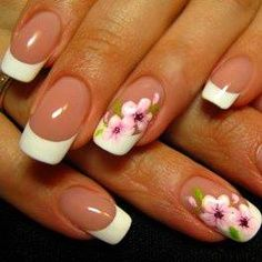 Traditional white tip French manicure with nude nails and floral decals accent nails nail art
