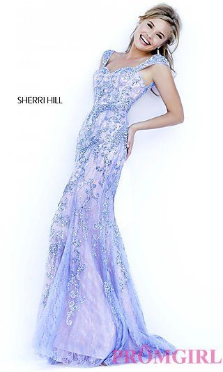 Floor Length Lace Sherri Hill Prom Dress at PromGirl.com