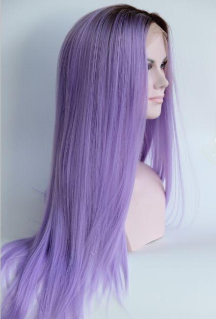ファッションオンブルストレート合成レースフロントかつらグルーレス長い二つトーンカラーブラウンに紫色耐熱毛かつら用女性