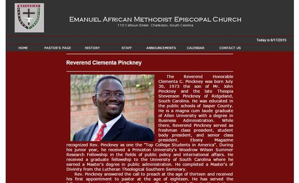 FOTO pastore e senatore democratico Clementa Pinckney