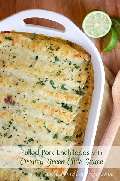 Pulled Pork Enchiladas with Creamy Green Chile Sauce | Let's Dish Recipes