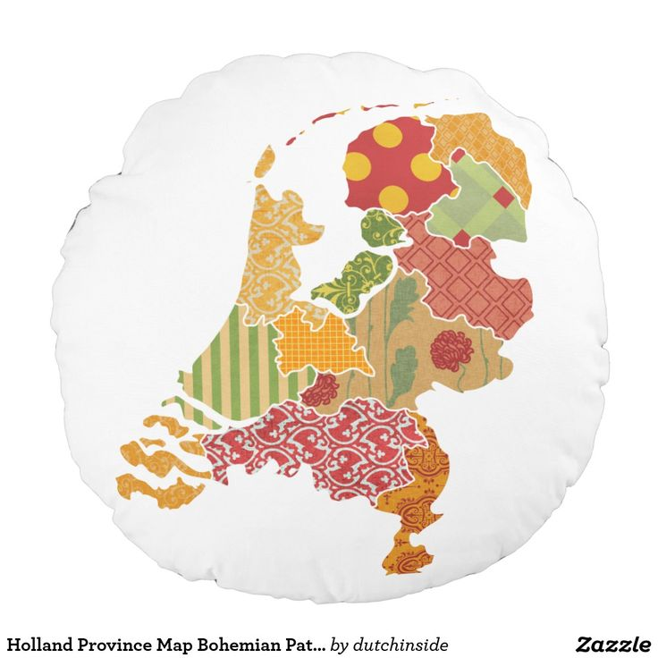 Netherlands Map Of Provinces%0A Holland Province Map Bohemian Patchwork Style Round Pillow by  DutchInside  on  Zazzle