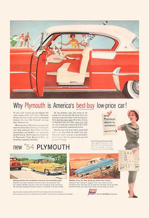 1954 PLYMOUTH CAR Ad Mid Century Print by EncorePrintSociety