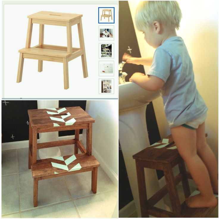 Stained (walnut) and painted (mint) ikea step stool