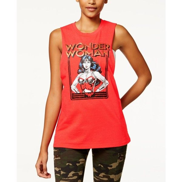 Warner Bros Juniors' Wonder Woman Graphic Muscle Tank Top by Bioworld ($6.99) ❤ liked on Polyvore featuring red, muscle tank and bioworld