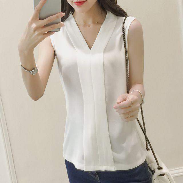 Estilo del verano 2016 Blusas Femininas mujeres Casual blanco Blusa de la gasa de la camisa del v-cuello sin mangas Tops mujeres Blusa Mujer