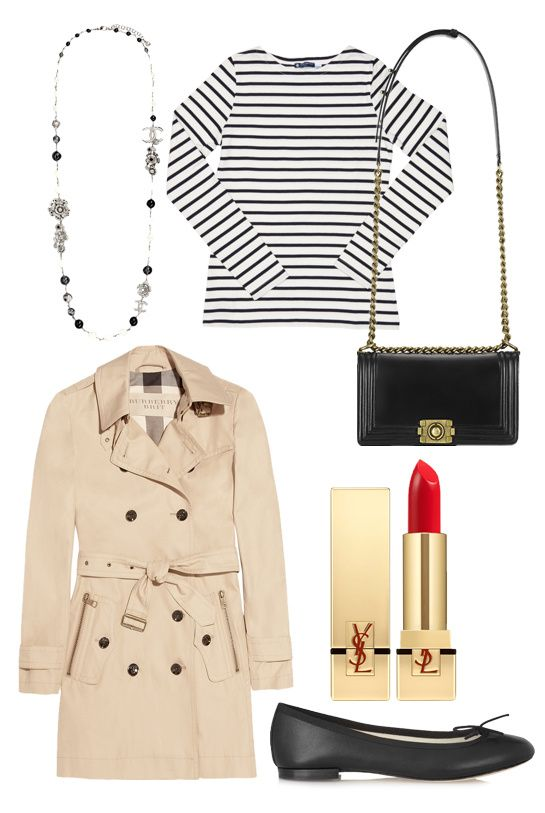 Parisienne Classics, Chic and boyish basics - Chanel pearl necklace, Saint James striped tee, Chanel Boy bag, Burberry trench coat, Yves Saint Laurent Rouge Pur Couture red lipstick, Repetto ballet flats