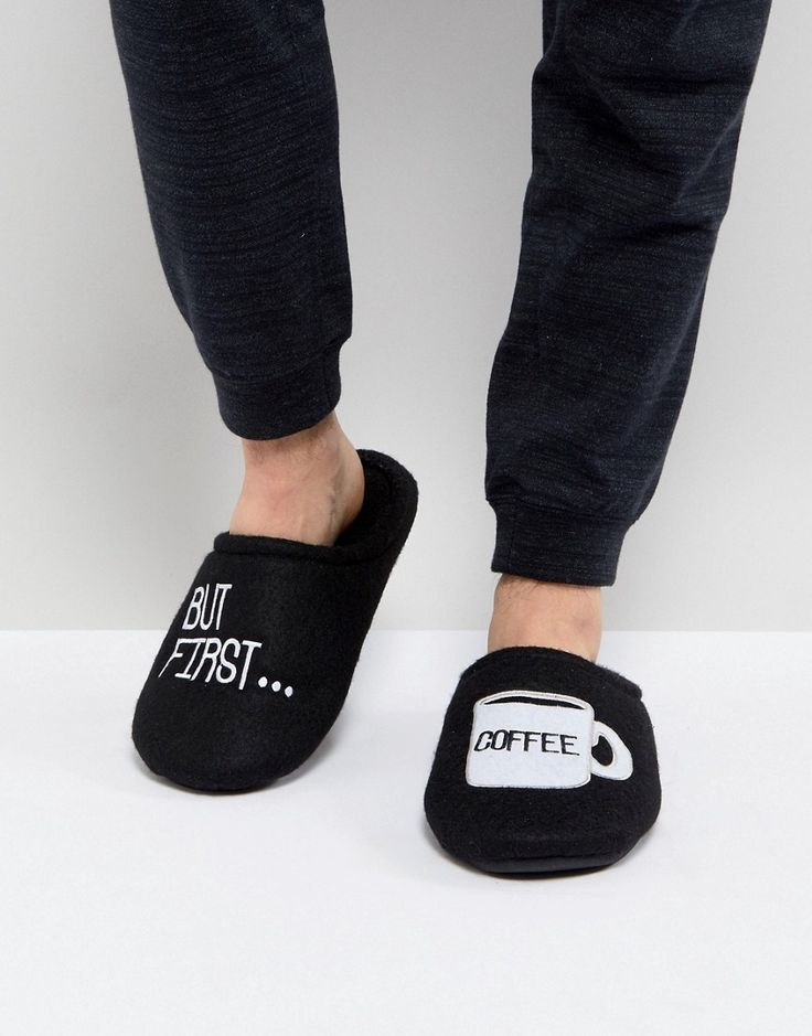 NEW LOOK SLIPPER WITH COFFEE SLOGAN IN BLACK - BLACK. #newlook #shoes #
