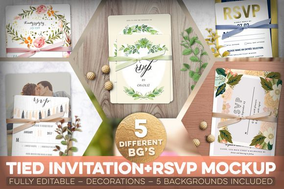 Tied #Invitation + RSVP #Mockup by Hype Your #Prints on @creativemarket