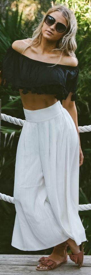 Black off Shoulder Crop Top, White Harem Pants, Camel Sandals | Black And White Boho | Cara Loren #black
