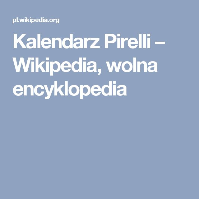Kalendarz Pirelli – Wikipedia, wolna encyklopedia