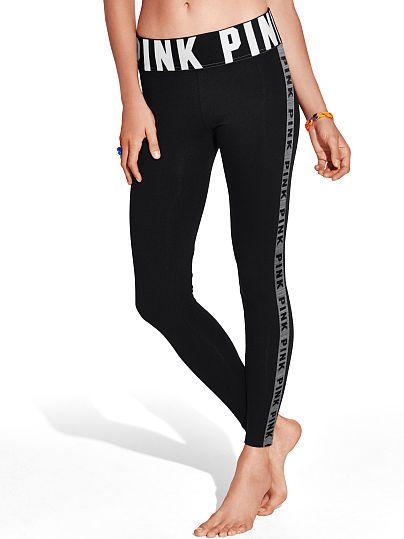 Logo Stripe Yoga Leggings - PINK - Victoria's Secret