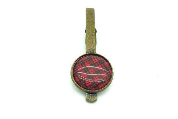 Red Tartan Tie Slide  Bronze Tie Clip  Gifts by MoonflameCufflinks