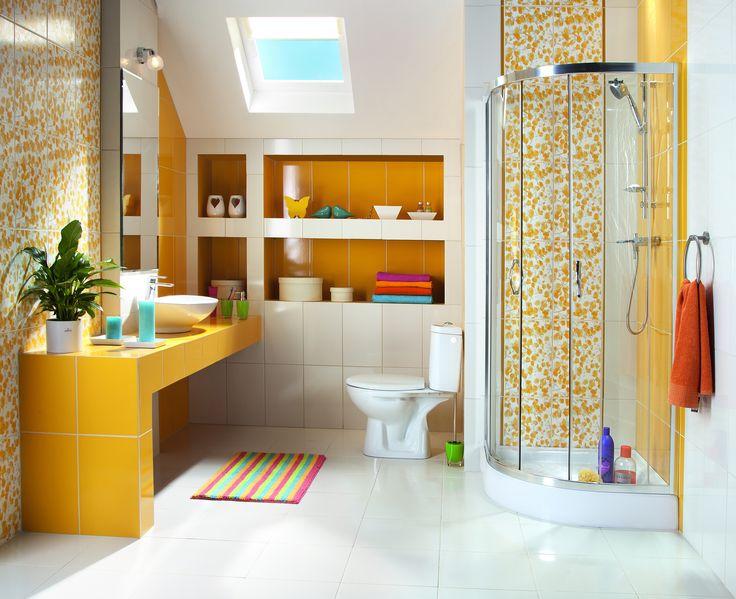 yellow spring design in bathroom #bathroom #obipolska #yellow #bright #obi #obibowarto