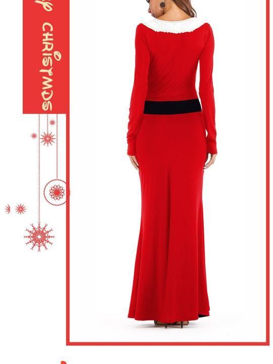 baa1cf201ba Christmas Costume Explosion COS Dress Up Ball Western Santa Long Sleeve  Dress