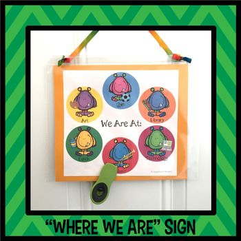 "Let visitors know where your class is with this resource! Use one of these ""Where We Are"" pages to alert visitors when your class is away...then flip it over to the ""Welcome"" page when you return.There are several different types of Where We Are signs included in this resource."