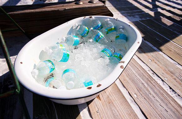 drinks in a bathtub  Katie + Clark « Southern Weddings Magazine