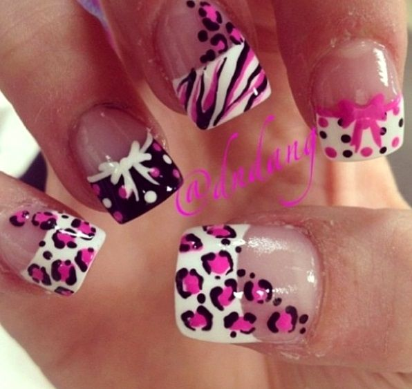 Nice nice pink , white and black French Tip Nail Art Designs