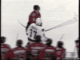 Hockey Fight Fail. Dion Phaneuf of the Calgary Flames drops his gloves and then…