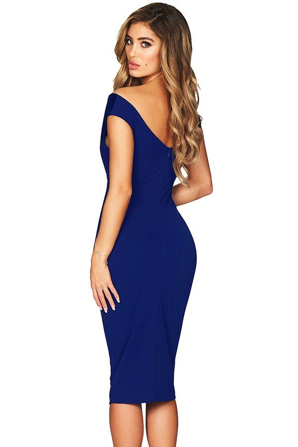 bfde21ecadfe Elegant Off Shoulder Short Sleeve Bodycon Midi Evening Dress Blue ...