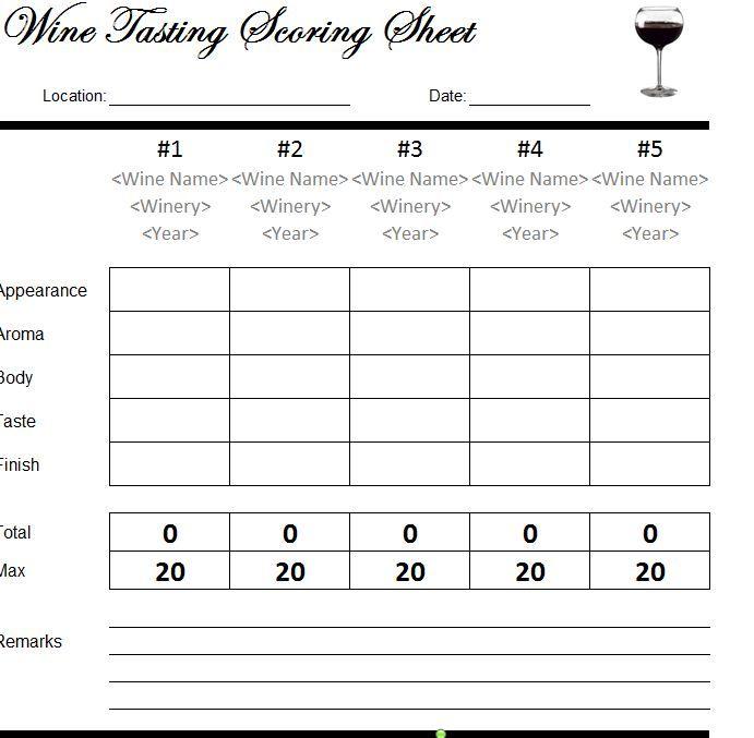 Wine Tasting Scorecard Wine Tasting Wine Wine Names
