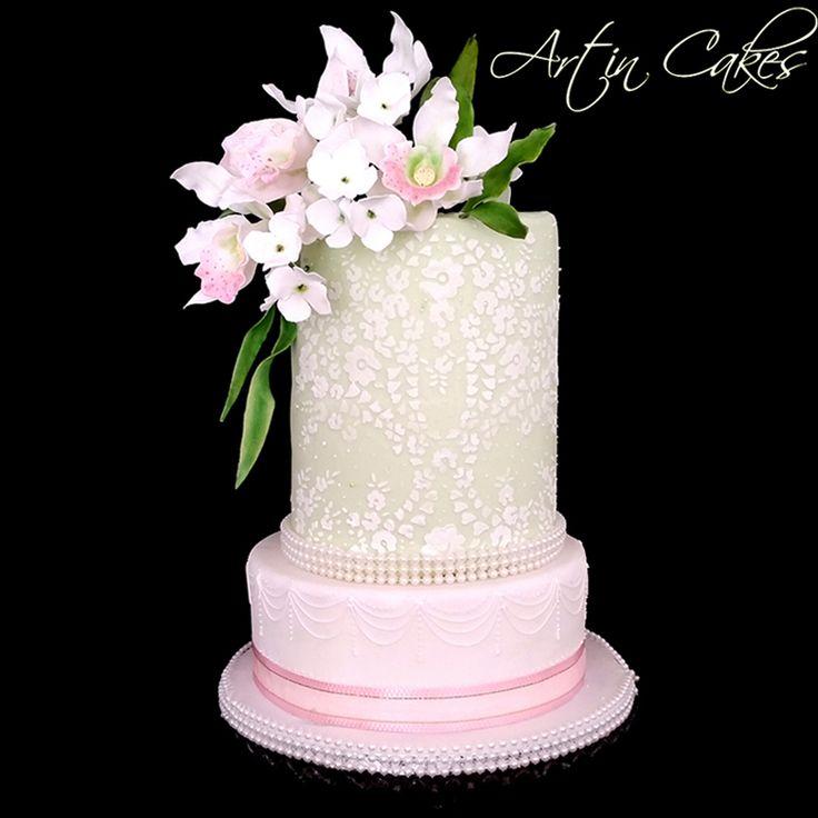 Купить товарЦветок торт кружева трафарет украшения торта инструменты торта свадебный торт украшения в категории  на AliExpress.  1 piece Bead Cake Stencil Flower and leaf  cake decorating tools wedding cake decoration fondant CK-S047 cake moldUSD 7