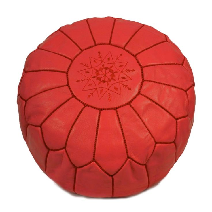 pouffe leather red - Leather Pouf