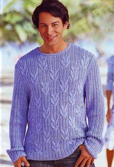 пуловер в резинку и с косами