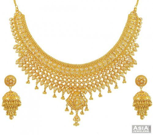 Gold Necklace And Earrings Set 22kt Indian Jewelry With: 22kt Gold Polki Necklace Set