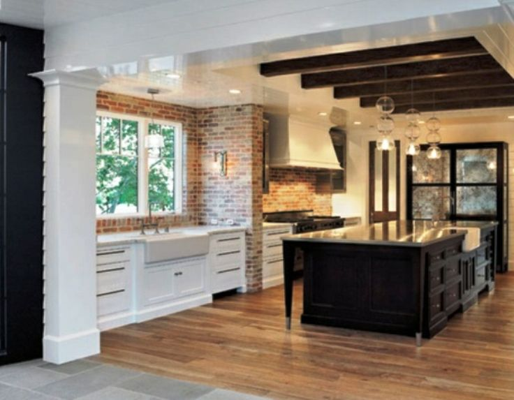 LOVE - 2 sinks + white and brown contrast wood + ceramic sinks + exposed beam ceiling with floor boards