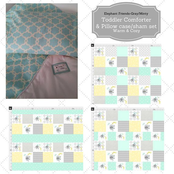 Toddler Comforter Set  Elephant Friends Quilt Minty Gray