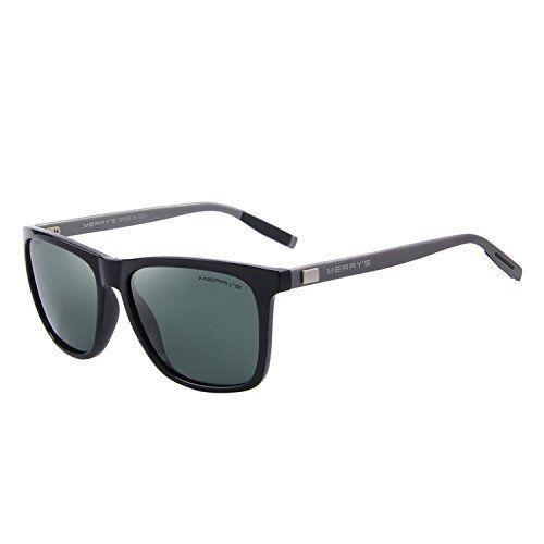 Unisex Sunglasses Glasses Aluminum Polarized Lens Vintage Retro Style GreenBlack #Merrys