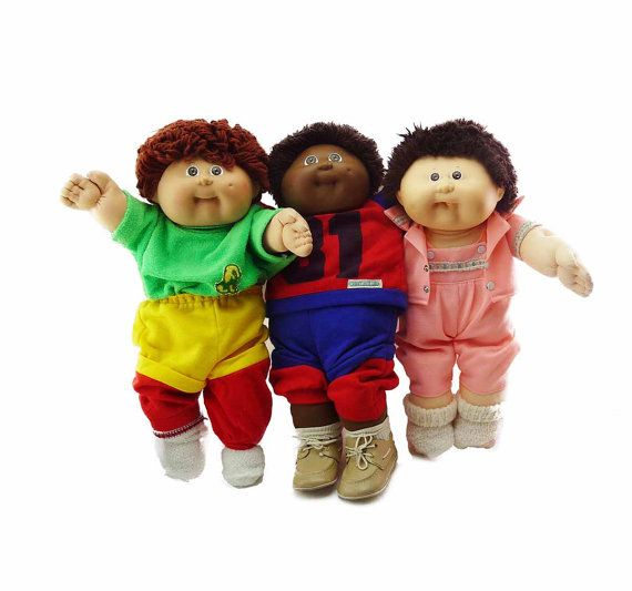 """Gang of 3 Cabbage Patch Kids Dolls -16"""" and 14"""" by Coleco 1978,1982, 1983 Designer XAVIER ROBERTS Red Dark Brown Yarn Hair Brown Eyes"""