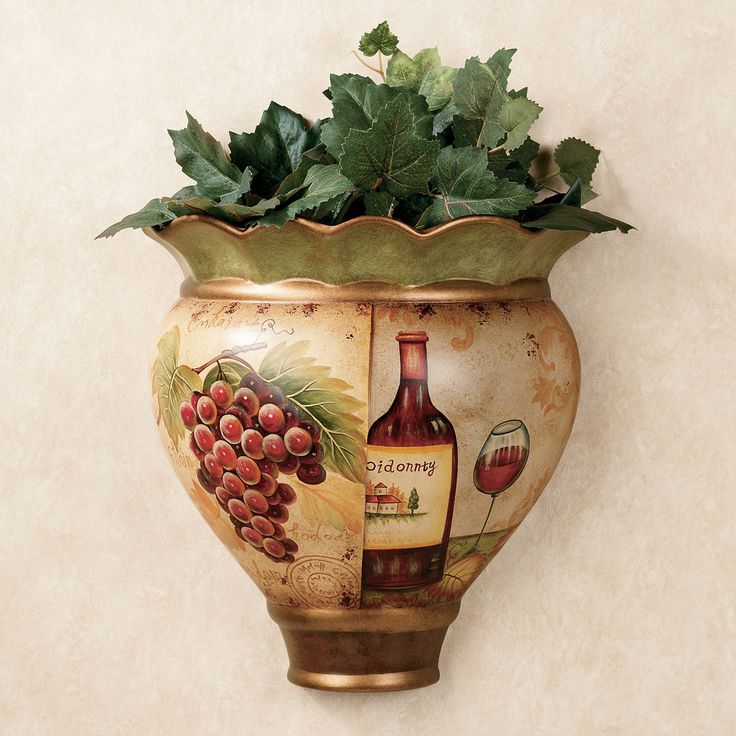 Grapes And Wine Wall PocketMulti Jewel