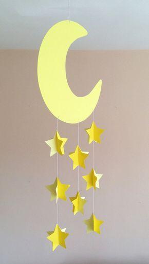 Lit mobile bébé, chambre bébé mobile, tenture murale décorative, décor de crèche avec lune et étoiles cousues de papier jaune, fait main, 3D