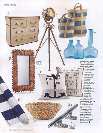 Currents: Nautical Decor. Coastal Living Magazine - Lacefield Designs Anchor Pillow  Ropes and Knots Pilow www.lacefielddesigns.com