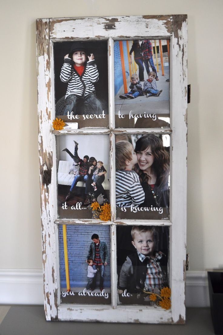 Old Window Turned Picture Frame- we have lots of these in the old house we are tearing down.  I'm thinking black and white photos.