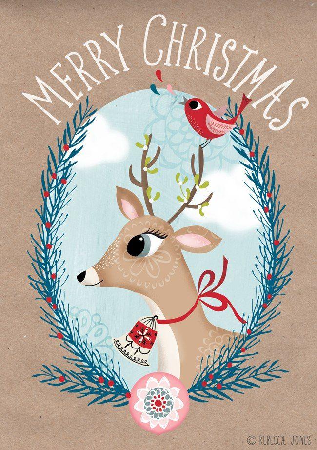 Новый год. Новогодний олень. Идея для открытки.
