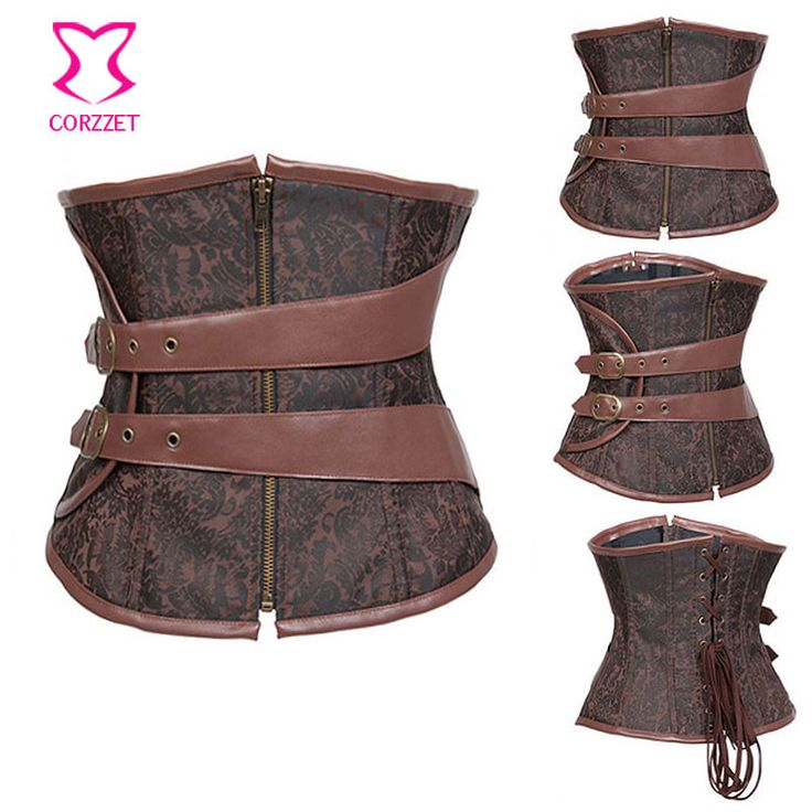 Brown Corselet Underbust Steampunk Korset Gothic Corset For Slimming Waist Trainer With Zipper Steel Boned Corsets and Bustiers