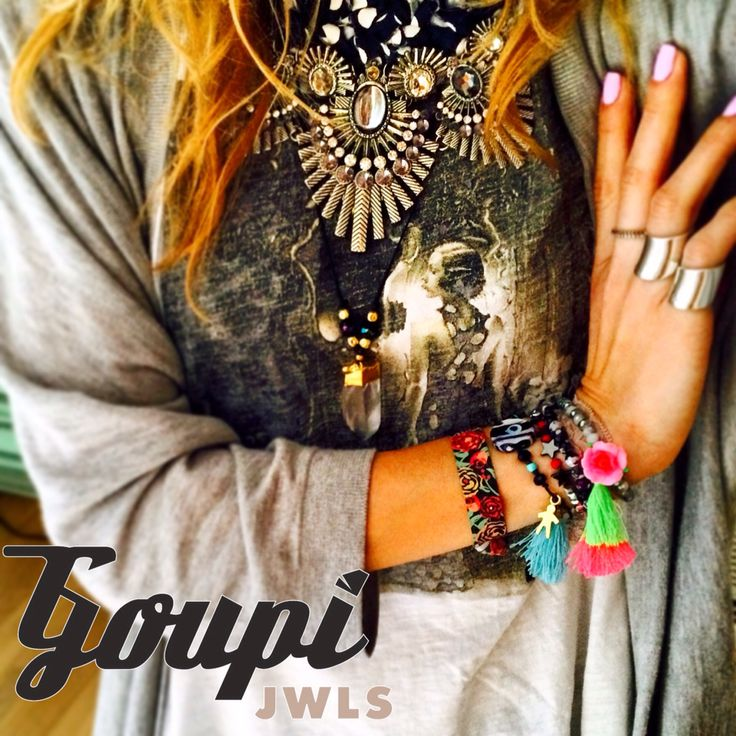 Aztec necklace looking good with Bullet pendant and armcandy , all by Goupi Jwls, Greece. Handmade fashion pieces