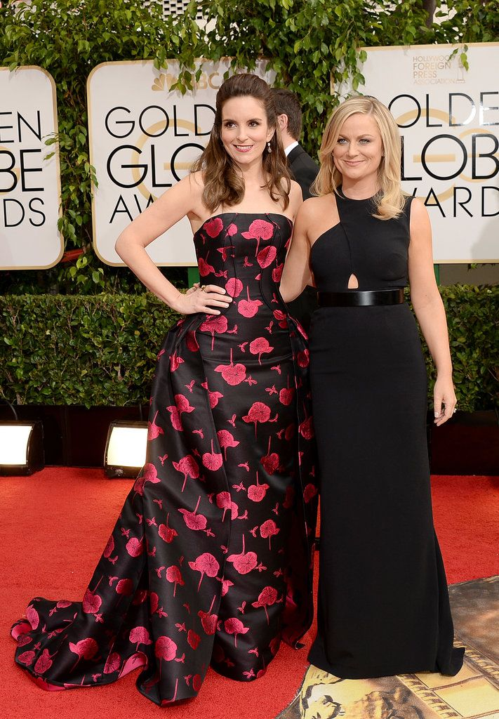 #TinaFey walks the red carpet in custom #CarolinaHerrera as she hosts the 2014 #GoldenGlobes