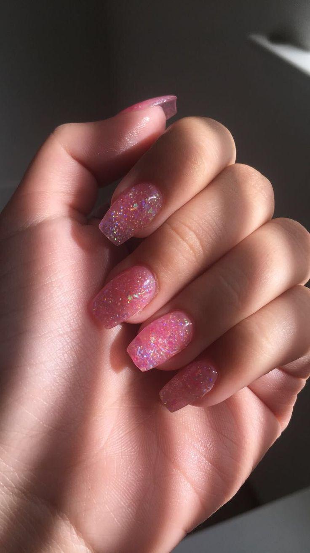 pink glitter acrylic nails #2000s #vsco #nails #AcrylicNailsClassy