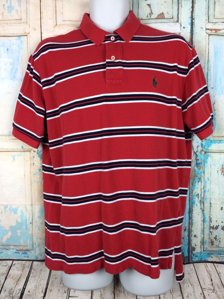 POLO RALPH LAUREN Men's Polo Shirt Red Blue White Striped Green Pony Size Large #PoloRalphLauren #PoloRugby