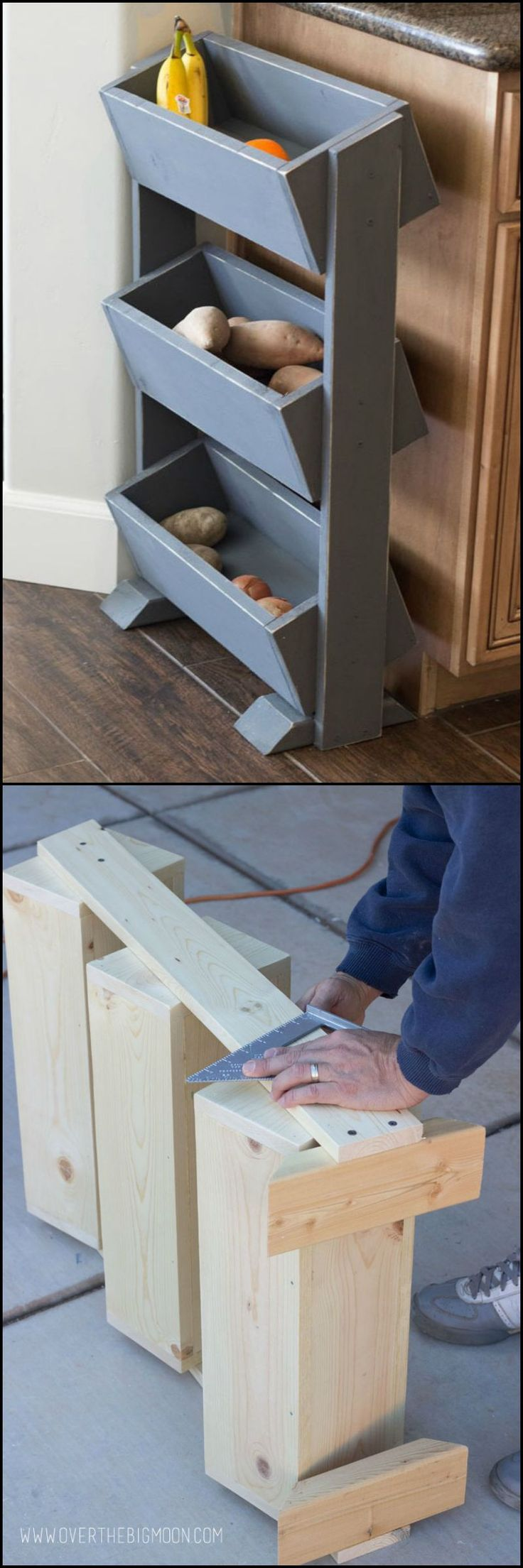This DIY produce stand is an efficient and stylish storage system you can add to your kitchen.   To help you increase your kitchen storage space, we've hand picked these simple kitchen storage ideas: theownerbuilderne...  Could you use one of these in your kitchen?