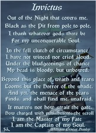 poem invictus explain However, today i wanted to do something a little different and share with you an  epic poem: invictus by william ernest henley why today why this poem.